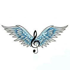 Angel wings with musical note Displaying gallery images for Est 1995 Tattoo Designs . Wing Tattoo Designs, Music Tattoo Designs, Tattoo Music, Music Note Tattoos, Bild Tattoos, Body Art Tattoos, Faith Tattoos, Quote Tattoos, Couple Tattoos
