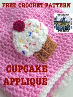 Make this cute crochet cupcake appliqué with Lion Brand Vanna's Choice!
