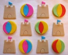 Items similar to Fondant Cupcake Toppers - Sandcastles, Beach Balls - Edible Beach Toppers on Etsy Fondant Cupcake Toppers, Fondant Icing, Cupcake Cookies, Cake Pops, Fondant Figures Tutorial, Cake Tutorial, Beach Cupcakes, Cupcake Picks, Cupcake Ideas