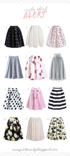 1 | 2 | 3 | 4 | 5 | 6 | 7 | 8 | 9 | 10 | 11 | 12 1. Black Frog Print Flare Skirt| comes in red, too! 2. White Flare Skirt 3. Beige Balloon Print Skirt | isn't this skirt so cute? it comes in blue, too! 4. BlueContinue Reading