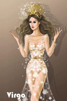 illustration, virgo, and zodiac image Zodiac Signs Horoscope, Zodiac Art, Virgo Zodiac, Virgo Art, Virgo Astrology, Virgo Women, Illustration Mode, Fashion Art, Fashion Design