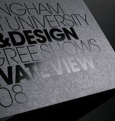 Thin and bold fonts, black on black invitation via Graphic Exchange _