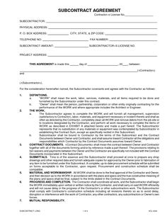 Subcontractor Long Form Contract : Contractor and Employee ...