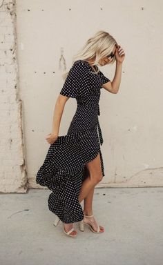 dot wrap maxi dresses