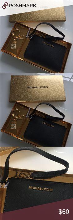 NWT In Box Black Wristlet MK Key Chain Excellent item gift set Wristlet with key chain  Black Michael Kors  With box 6 x 4 Michael Kors Bags Clutches & Wristlets