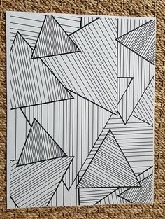 Adult Coloring Page - Abstract Striped Triangles - Art Drawings Coloring Pages To Print, Coloring Book Pages, Coloring Sheets, May Designs, Patterned Vinyl, Triangles, Glitter Vinyl, Grafik Design, Op Art