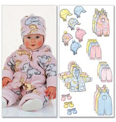 Butterick 5584 Infants Jacket, Overalls, Pants, Hat and Mittens Larg-Xlg Butterick Sewing Patterns, Sewing Patterns For Kids, Sewing For Kids, Baby Patterns, Fleece Projects, Sewing Projects, Patron Butterick, Baby Overalls, Baby Coat