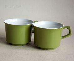 Two 2 x Vintage 1960s/70s Avocado Green Melamine Mugs Cups Retro Picnic by UpStagedVintage on Etsy
