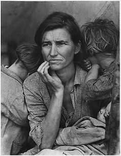Probably the most famous picture to come from the Great Depression...a mother of seven with such a deep, concerned expression.  Dorothea Lange's Migrant Mother
