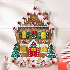 Bucilla ~ Nordic Gingerbread House ~ Felt Christmas Advent Calendar Kit This complete kit includes Bucilla felt applique kits are a Christmas tradition. Christmas Stocking Kits, Christmas Fun, Christmas Projects, Christmas Ornaments, Felt Christmas Stockings, Christmas Tables, Nordic Christmas, Modern Christmas, Gingerbread Crafts