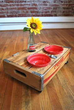 upcycled vintage coca-cola crate pet feeder