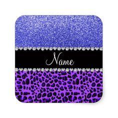 Custom name purple leopard neon blue glitter square sticker