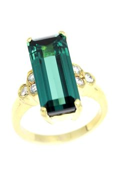 18K Yellow Gold Rectangular Green Tourmaline & Diamond Cluster Ring by One-of-a-Kind: Estate Jewelry on @HauteLook