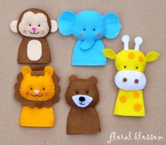 PDF Pattern: Zoo Friends 01 Felt Finger Puppets. $5.00, via Etsy.