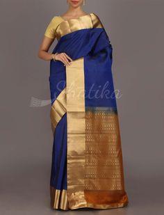 Sarika Royal Plain Blue With Ornate Contrast Pallu #CoimbatoreSilSaree