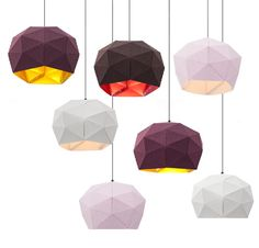 Erich Ginder's work. DOT/DASH is a new pendant lamp made from die-cut fabric, nylon rivets and grey cord.