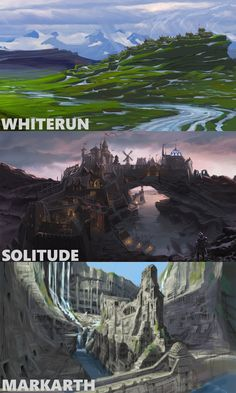 These are a collection of drawing for the landscapes for some of the main places in skyrim, i have picked these because i would like to make a design that is based around this on photoshop.