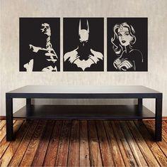 Superheroes Wall Decal Designs _ Batman _ Super Man _ Wonder Woman Superheroes_ Superherows Docor and Wall Sticker _ Trendy Wall Designs