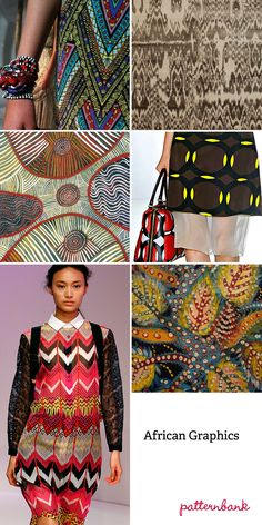 """Spring/Summer 2013-""""African Graphics""""-African graphic impact ~ Tribal abstracts & geometric elements ~ Linear build ups ~ clashing repeats ~ Border and placed pattern ~ Painterly effects ~ Outline graphic art ~ Two tone effects ~ Batik and block print textures ~ Bold colour usage"""