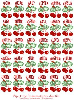 This is a set of spice decals based on the old cherry decals for the Tipp City set. Included are the range set plus all the spice labels you see here - and 6 more that you can customize if you like. Spice Jar Set, Spice Jar Labels, Kitchen Jar Labels, Kitchen Utensils, Cherry Kitchen, Mini Kitchen, Barbie Food, Barbie Dolls, Cocina Diy