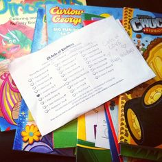 """Number Five of #26Acts of Kindness. Activity and coloring books for the wee ones at The Y! This one's for you, Josephine!"""