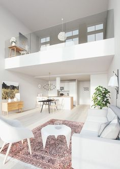 The guarded bodies of the mezzanine, a good idea for lofts with mezzanine. Scandi Living, Home And Living, Modern Living, Home Interior, Interior Architecture, Modern Interior, Small Apartments, Small Spaces, Loft Spaces