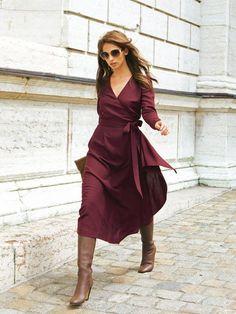 10 Modern Sewing Patterns that Flatter Women WOMEN – Burda Style Wrap Dress with Sash Diy Fashion, Ideias Fashion, Autumn Fashion, Office Fashion, Dress Fashion, Fashion Clothes, Street Fashion, Rock Fashion, Fashion Outfits