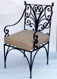 retro style wrought iron furniture, vintage chair with a cushion