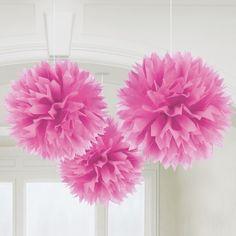 Kaufen Sie fluffige Pompons in allen Farben wie Rosa für Taufe + Hochzeit im Partyshop in Rodgau!