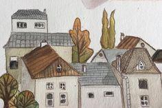 Merudemirci — #messy #watercolor #houses #illustration #france