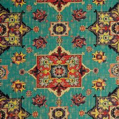 Teal Red Woven Tapestry Upholstery Fabric   Textured Coral Teal Medallion  Fabric For Furniture   Modern Red Yellow Ikat Throw Pillows