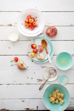 Bing cherry, Saturn peach, vanilla custard, and lemon cake trifles