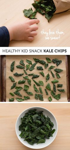 Kid Friendly Crunchy Kale Chips - Love the different flavor recommendations. I make kale chips often, but these directions sound better than how I've been doing it. Kale Chip Recipes, Baby Food Recipes, Whole Food Recipes, Snack Recipes, Cooking Recipes, Healthy Recipes, Healthy Chips, Healthy Snacks For Kids, Toddler Snacks