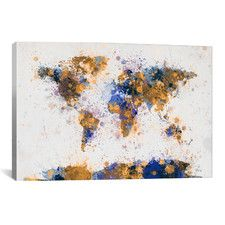 'World Map Paint Drops IV' by Michael Tompsett Painting Print on Canvas