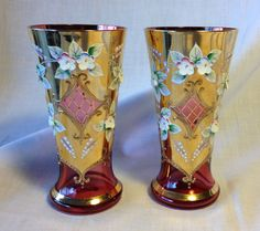 Vtg Pair EGERMANN Bohemian Cranberry Czech Glass Vase: Gold Gilt/Raised Flowers