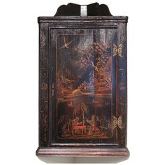George II Black Japanned Hanging Corner Cabinet | From a unique collection of antique and modern corner cupboards at https://www.1stdibs.com/furniture/storage-case-pieces/corner-cupboards/