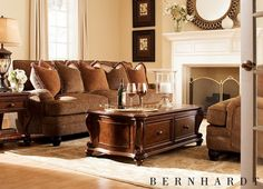 #Havertys traditional Alisa collection by Bernhardt has fluted exposed feet, Charles of London arms and feather down pillows.