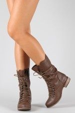 b9d9ab4420c654 Breckelle Georgia-24 Lace Up Military Mid Calf Boot ( 20-50) -