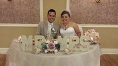 My daughter's DIY wedding. Mike and Noelia's sweetheart table.  Simple but elegant.  Cardboard letters.