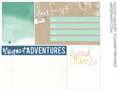 AUGUST FIRST! (new memory planner printable!)