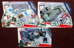Hasbro Star Wars Galactic Heroes: The Force Awakens Ships Resistance X-Wing Fighter with Poe Dameron First Order Snowspeeder First Order Special Forces TIE Fighter