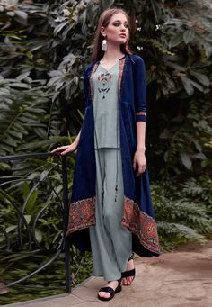 Gray Rayon Readymade Palazzo Style Suit With Jacket 197511 Abaya Fashion, Fashion Pants, Suit With Jacket, Pakistani Salwar Kameez, Jacket Pattern, How To Dye Fabric, Grey Fabric, All About Fashion, Palazzo Style