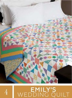 "Check out this free pattern for ""Emily's Wedding Quilt"" by Liz Porter and learn to make an abstract and colorful piece for a newlywed couple."
