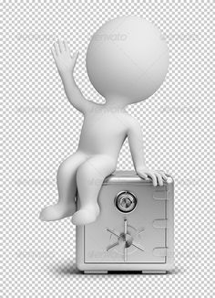 3d small person sitting on the steel safe. 3d image. Transparent high resolution PSD with shadows. Alpha channel.