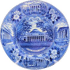 Vintage George Peabody College for Teachers Plate Old Staffordshire Ware Blue Transferware from #AntikAvenue on #RubyLane
