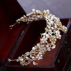 Wedding Tiaras, Wedding Hair Clips, Bridal Crown, Bridal Tiara, Hair Jewelry, Pearl Jewelry, Princess Jewelry, Golden Crown, Costume Jewelry Sets