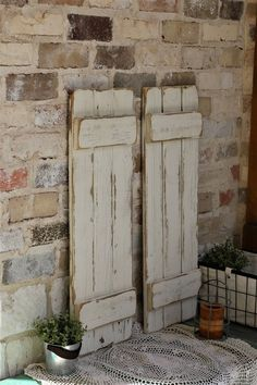 White Distressed Farmhouse Shutters
