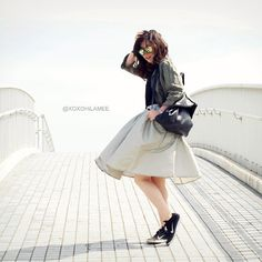 Mizuho K - Choies Midi Skirt, Zerouv Crazy Frost Frame Mirrored Revo Lens Oversize Sunglasses - 2015/05/11