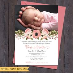 Baby girl christening/baptism/naming day by DebraBondDesigns Personalized Invitations, Printable Invitations, Invitation Cards, Invitations Kids, Birthday Invitations, Baby Girl Christening, Boy Baptism, Baptism Ideas, Christening Invitations Girl