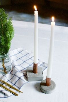 DIY Copper and Concrete Candle Holders #diy